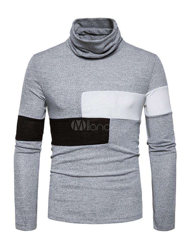 Men Sweater Light Grey High Collar Long Sleeve Pullover Sweater Cotton Top