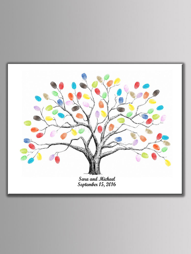 Fingerprint Signature Tree Wedding Guest Book Personalized DIY Party Wedding Decorations
