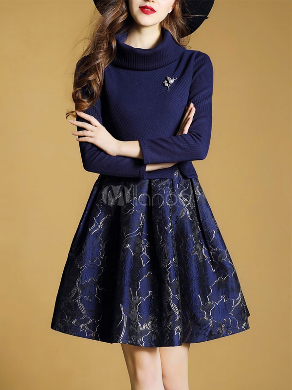 Buy Women Skater Dress High Collar Long Sleeve Deep Blue Jacquard A Line Dresses for $35.99 in Milanoo store