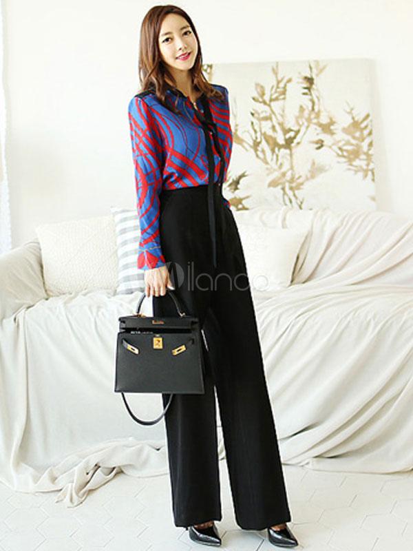 moderner anzug f r damen polyester mit schn ren und print in blauim st dtischen stil 2 stk set. Black Bedroom Furniture Sets. Home Design Ideas