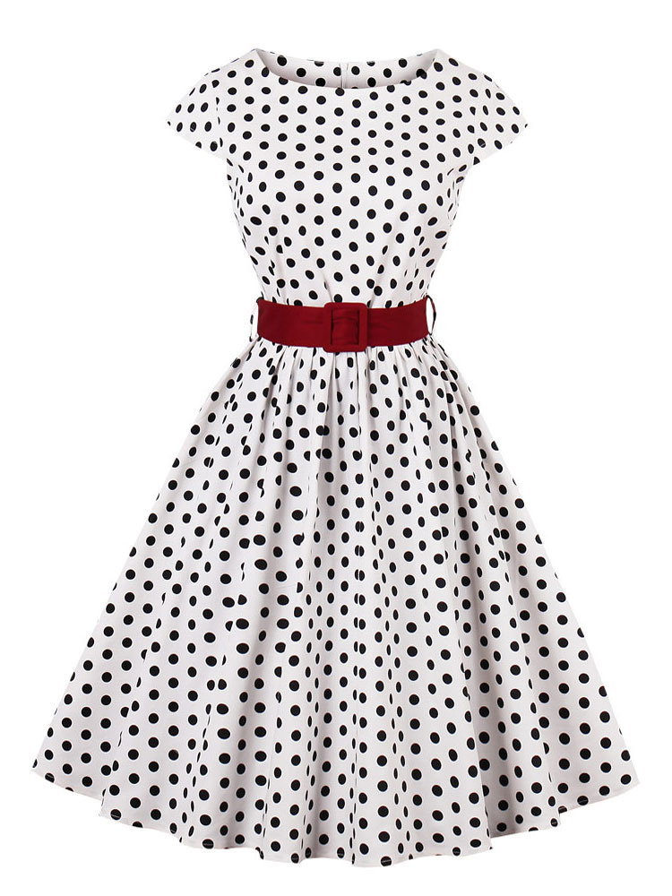 Women Vintage Dress Plus Size Polka Dot Cap Sleeve Pleated Cotton White Swing Dress With Belt