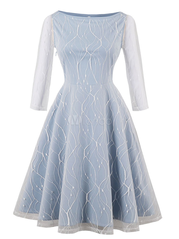 Women Vintage Dresses 1950s Lace Blue Bateau Neck Long Sleeve A Line Swing Dress