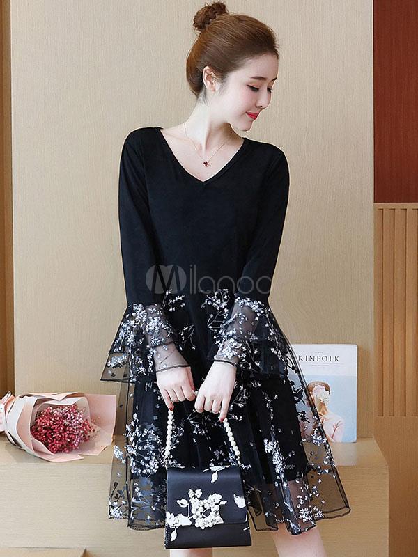 Buy Black Skater Dress Tulle V Neck Bell Sleeve Layered A Line Dresses For Women for $28.49 in Milanoo store