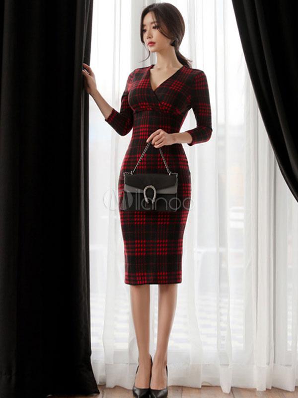 Red Bodycon Dresses Plaid V Neck Long Sleeve Sheath Dress For Women