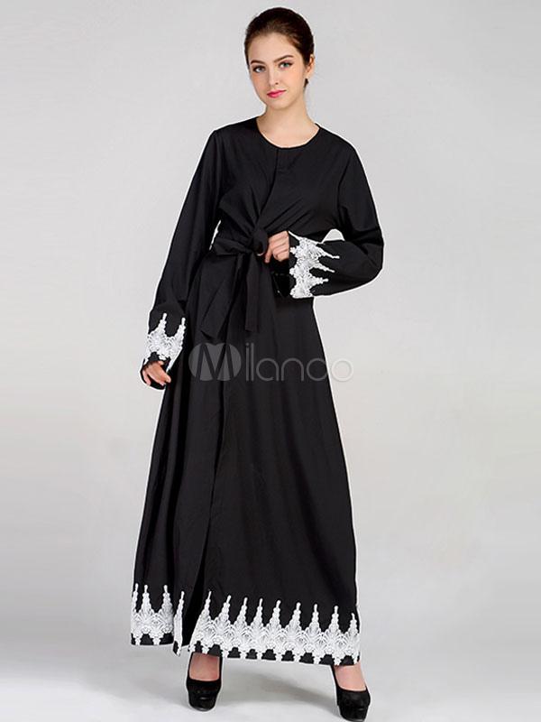 Black Abaya Dress Lace Bell Sleeve Sash Round Neck Maxi Dresses For