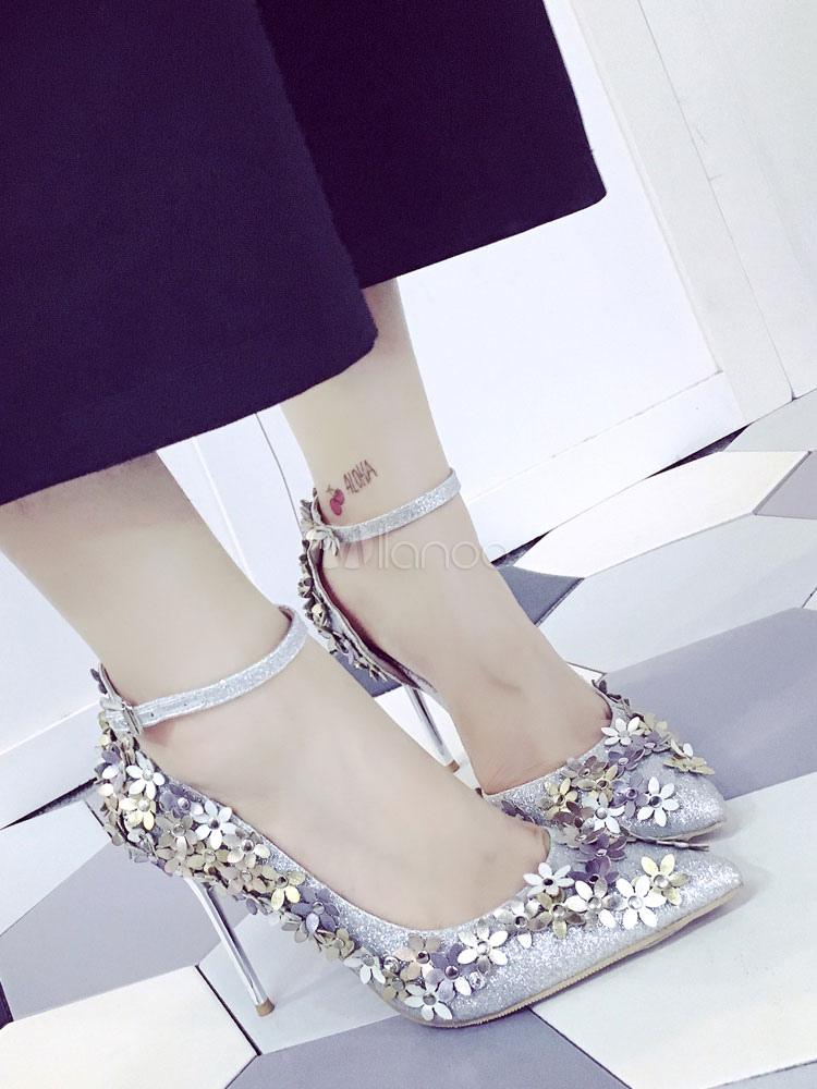Zapatos de tacón de puntera puntiaguada de tela brillante Artísticos con flor de tacón de stiletto 2jGpBc
