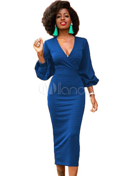 Women Bodycon Dresses Blue V Neck Puff Sleeve Midi Dress