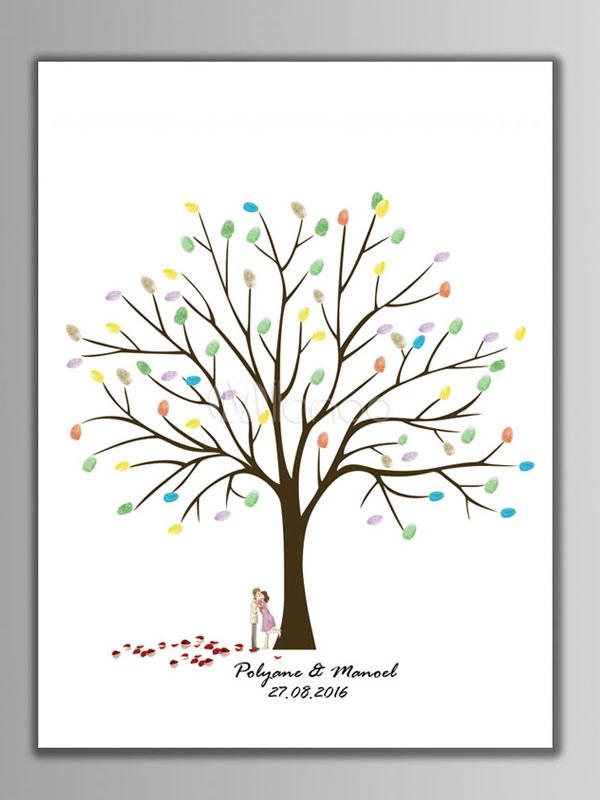 Fingerabdruck Malerei Hochzeit Baum Unterschrift Party Gastebuch Diy