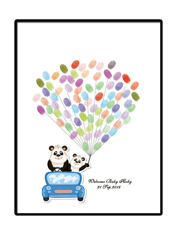 Fingerprint Painting Wedding Guest Book Party Signature DIY Personalized Driving Car Balloon (6 Colors Ink)