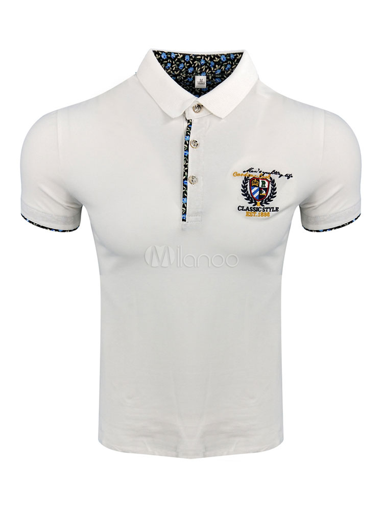 Buy White Polo Shirt Men T Shirt Turndown Collar Long Sleeve Embroidered Cotton Top for $22.49 in Milanoo store
