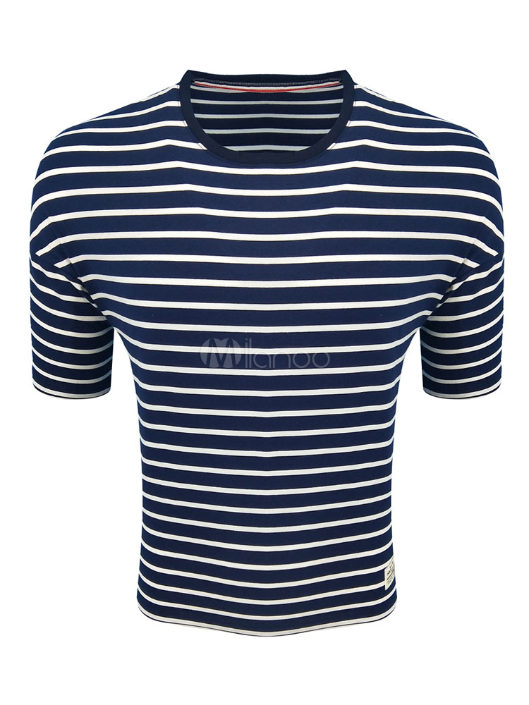 Buy Blue T Shirt Short Sleeve T Shirt Round Neck Striped Slim Fit Cotton Top For Men for $17.99 in Milanoo store
