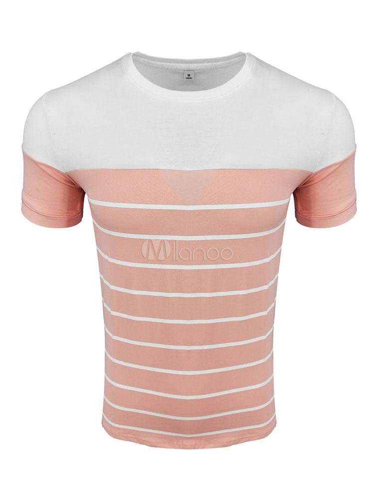 Men T Shirt Round Neck Short Sleeve Striped T Shirt Casual Top