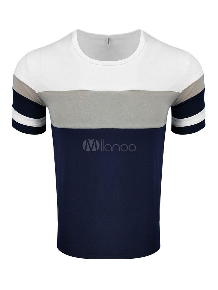Short Sleeve T Shirt Men T Shirt Multicolor Round Neck Slim Fit Cotton Top