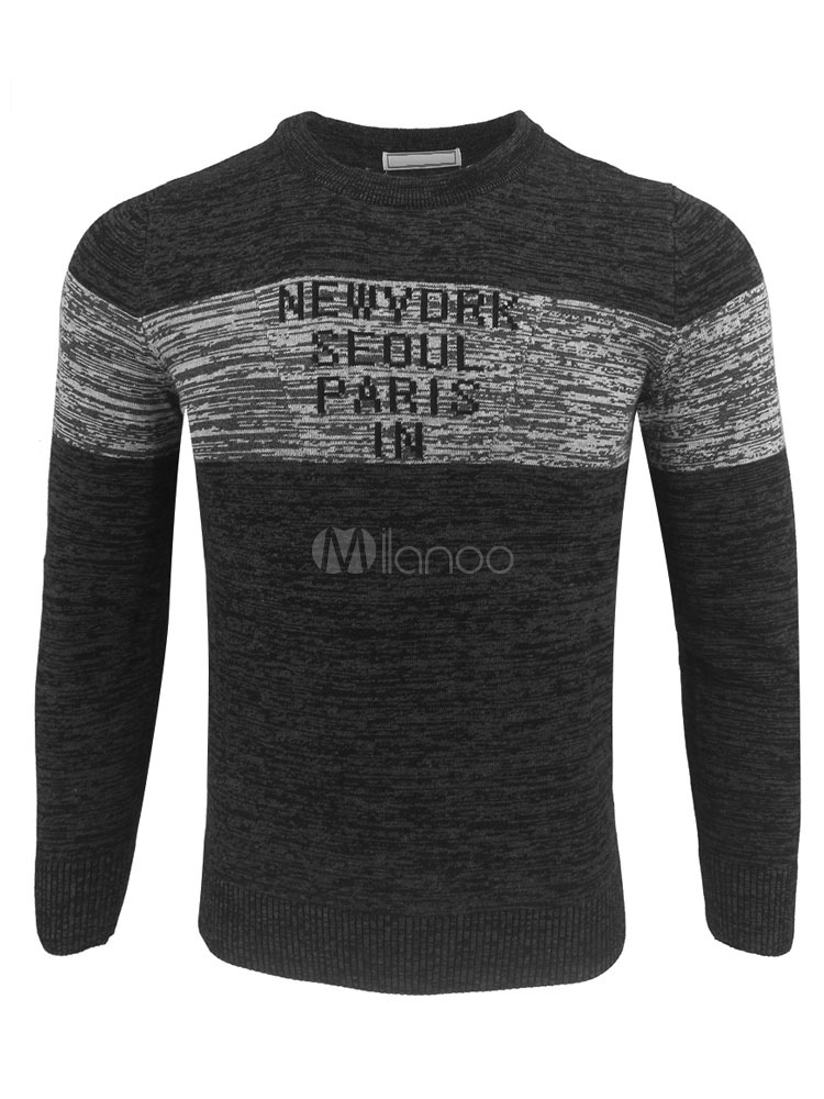 Black Pullover Sweater Men Sweater Round Neck Long Sleeve Printed Slim Fit Knit Top