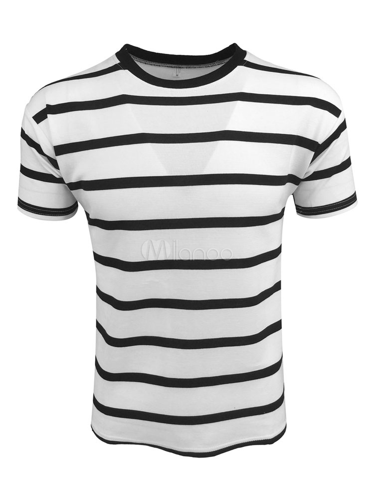 Buy Short Sleeve T Shirt White T Shirt Men Round Neck Striped Slim Fit Casual Top for $17.99 in Milanoo store