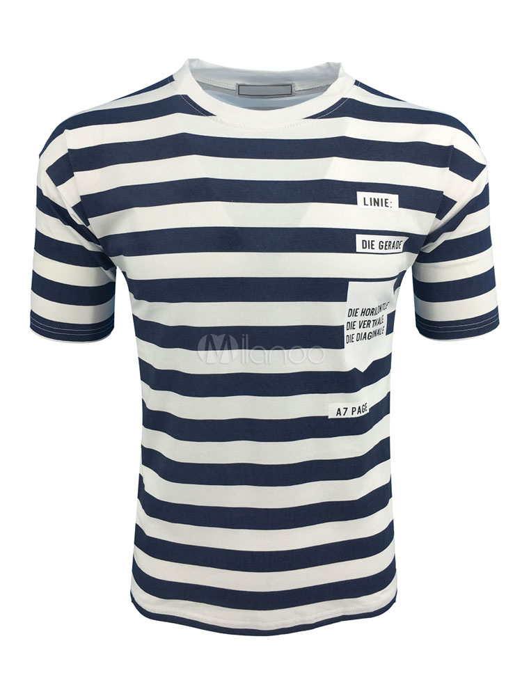 Buy Blue T Shirt Short Sleeve T Shirt Round Neck Striped Slim Fit Cotton Top For Men for $19.99 in Milanoo store