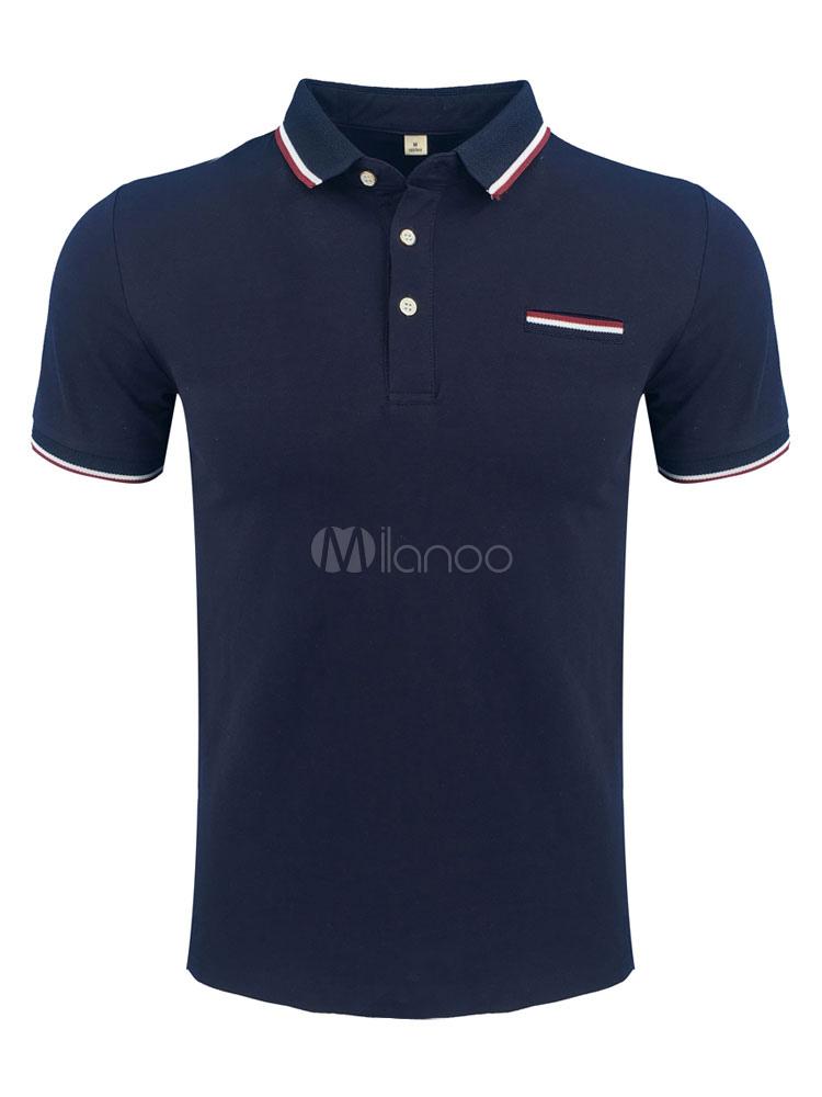 Men Polo Shirt Dark Navy Turndown Collar Short Sleeve Slim Fit Casual Top Cotton T Shirt