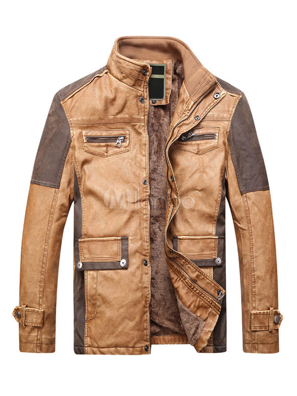 Buy Brown Leather Jacket Men Motorcycle Jacket Stand Collar Long Sleeve Zip Up Short Jacket for $73.79 in Milanoo store