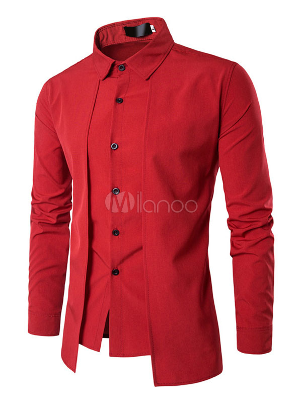 Red Casual Shirt Men Shirt Turndown Collar Long Sleeve Slim Fit Cotton Top