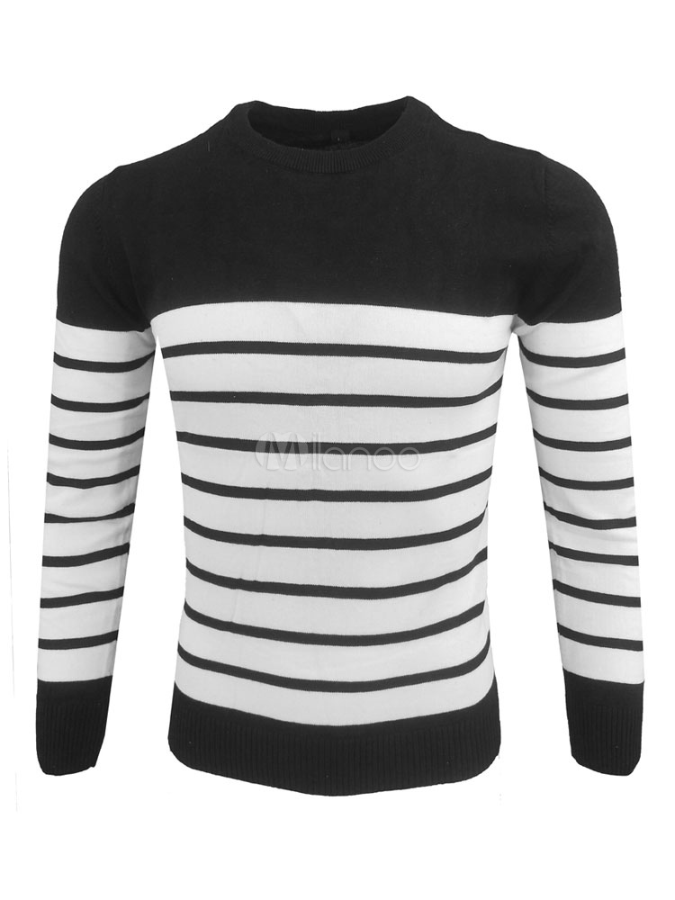 Buy Black Sweater Men Pullover Sweater Round Neck Long Sleeve Striped Casual Top for $22.49 in Milanoo store