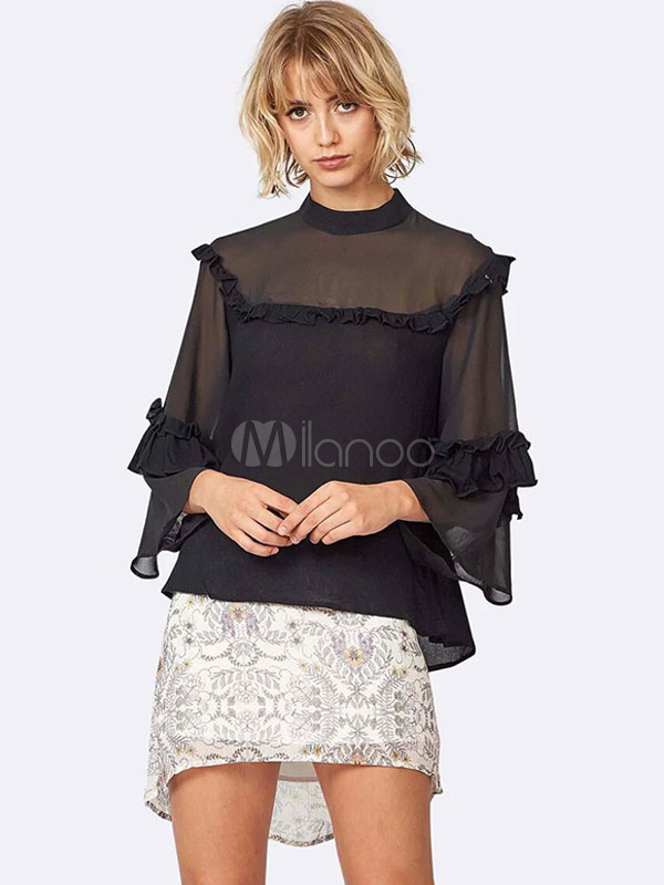 Buy Black Blouses Bell Sleeve Ruffles Crewneck Top For Women for $18.99 in Milanoo store