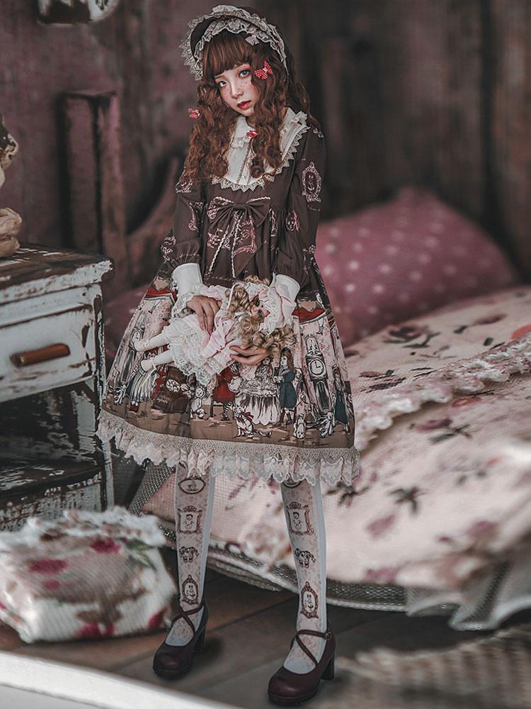 Buy Sweet Lolita OP One Piece Dress Infanta Long Sleeve Lace Ruffles Bows Peter Pan Collar Chiffon Soft Pink Lolita Dress for $107.99 in Milanoo store