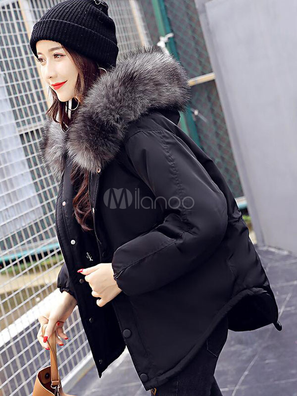 Oversized Puffer Coat Pink Faux Fur Collar High Low Drawstring Slit Women Winter Padded Coat Cheap clothes, free shipping worldwide