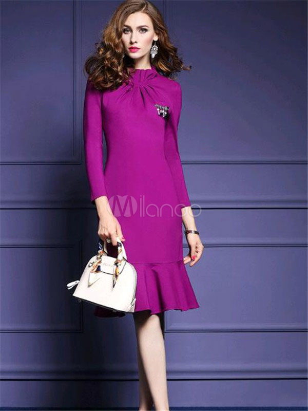 Women Purple Bodycon Dress Stand Collar Frill 3/4 Sleeve Work Dress