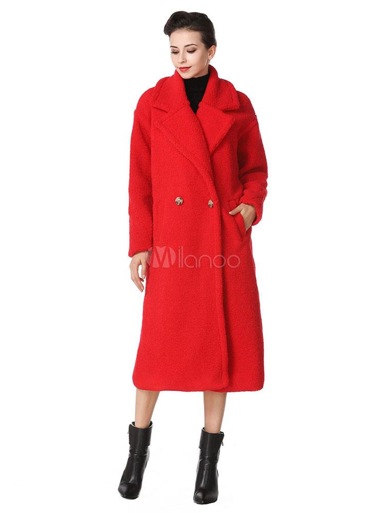 Buy Women Faux Fur Coat Notch Collar Red Winter Coat for $84.99 in Milanoo store