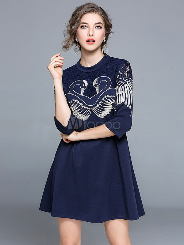 Buy Women Shift Dress Lace Crewneck Half Sleeve Blue Short Dresses for $34.99 in Milanoo store