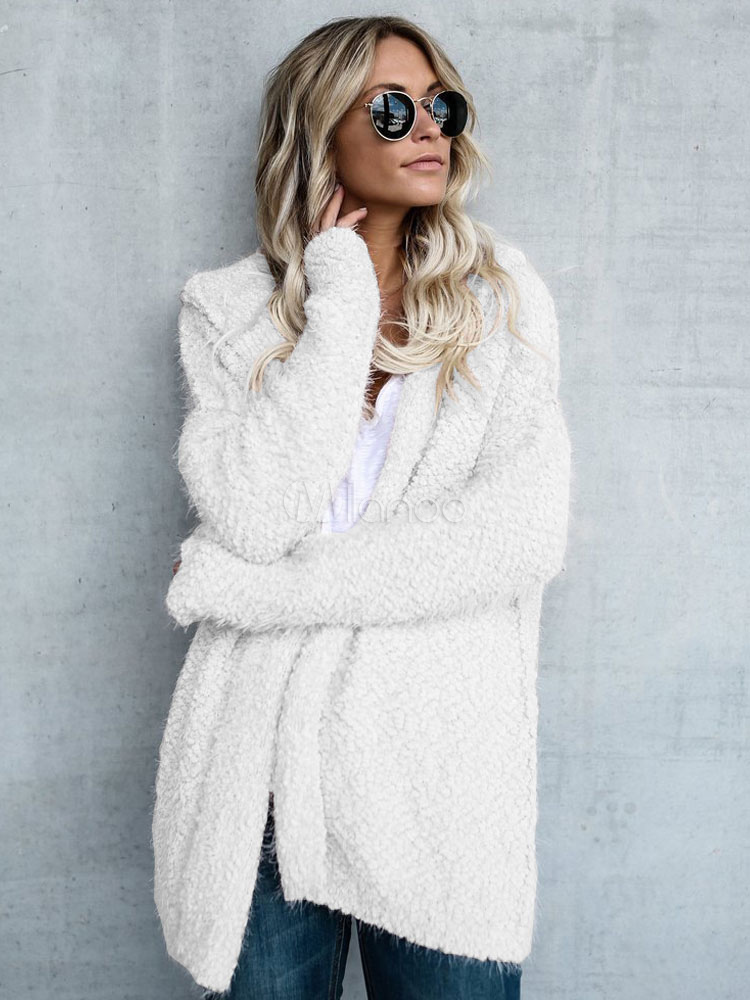 White Knit Cardigan Long Sleeve Hooded Jacket For Women
