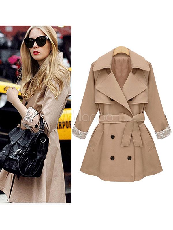 Buy Women Trench Coat Notch Collar Long Sleeve Dark Navy Wrap Coat for $41.64 in Milanoo store
