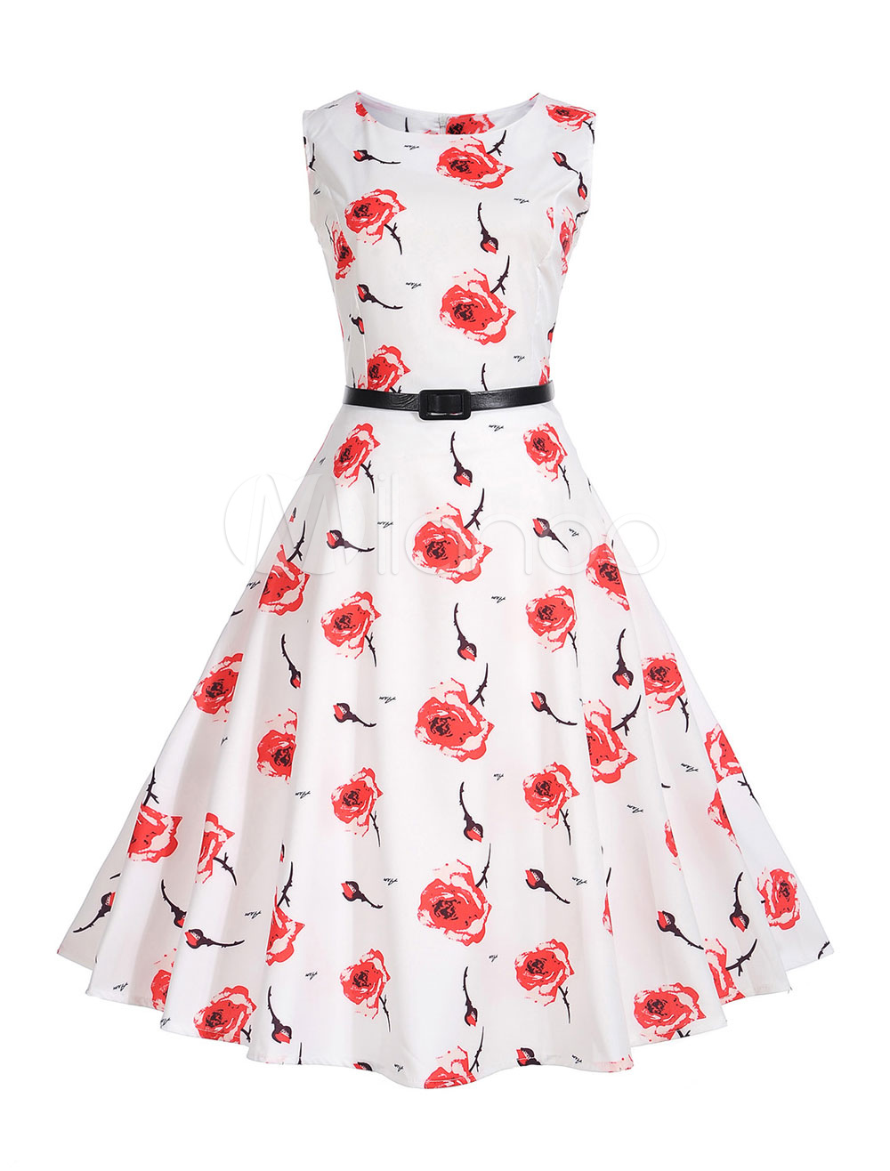 Buy White Vintage Dress Women Round Neck Sleeveless Rose Print 1950s A Line Floral Dresses for $19.99 in Milanoo store