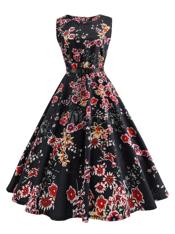 Frauen Vintage Ärmellose A Kleider Blumenkleid Schwarz Linie Rundhalsausschnitt RLA54j