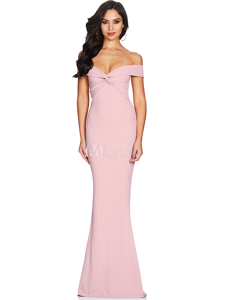 Buy Pink Maxi Dress Women Formal Dress Off The Shoulder Twisted Floor Length Evening Dress for $28.49 in Milanoo store