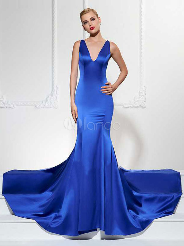 Buy Blue Formal Dress Women Maxi Dress V Neck Sleeveless Lace Embroidered Floor Length Evening Dress for $37.99 in Milanoo store