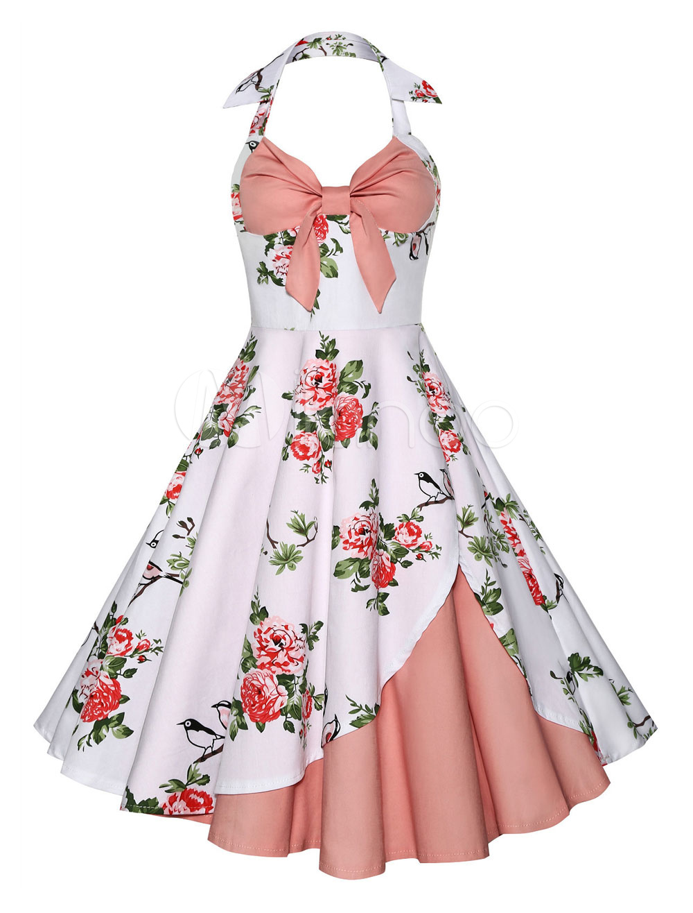 White Vintage Dress Floral 1950s Halter Sleeveless Backless Rockabilly Dresses For Women