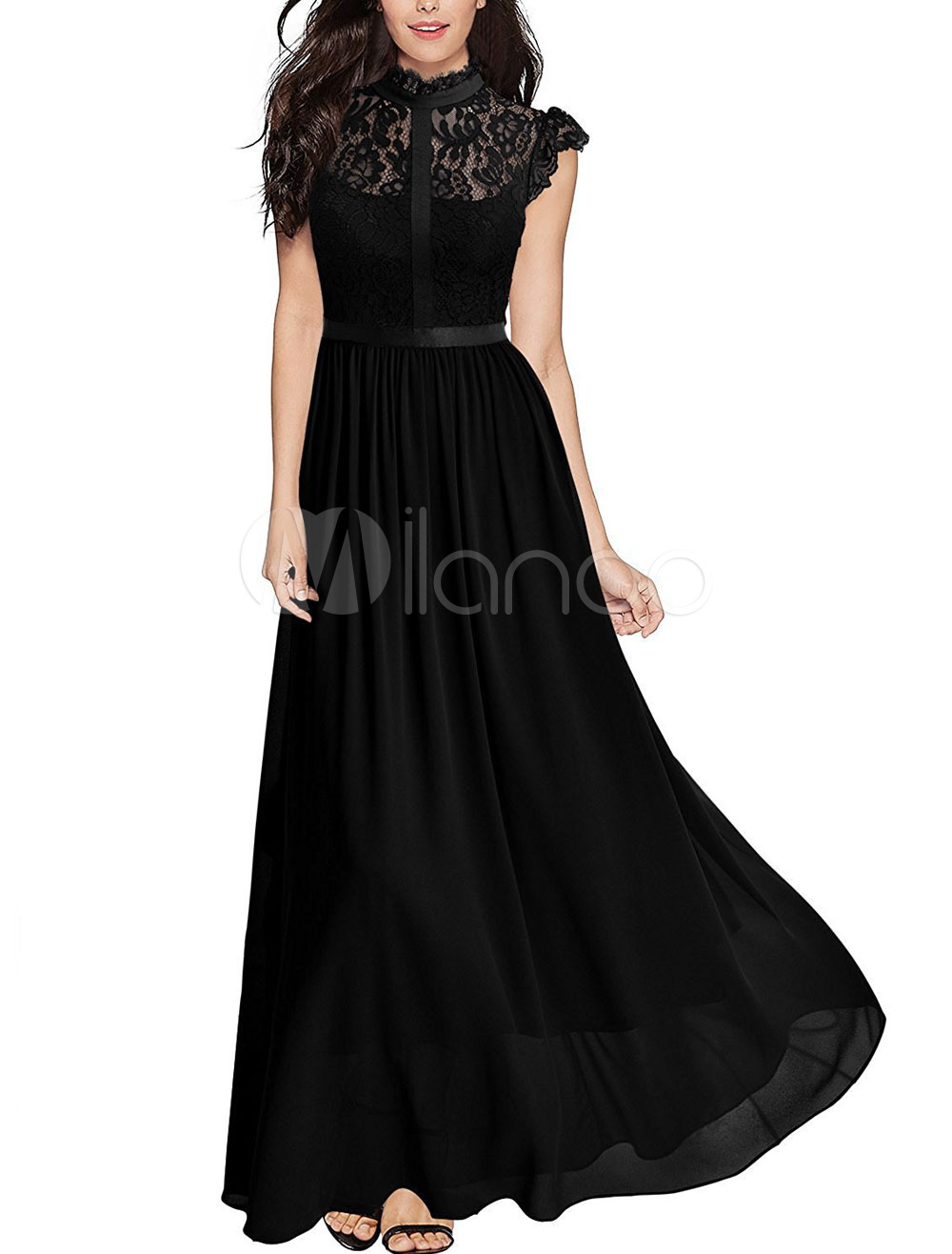 Black Maxi Dresses Lace Round Neck Cap Sleeve Chiffon Backless Party Dress For Women