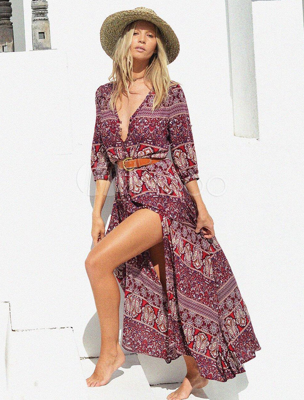 5d0872d48a ... Women Maxi Dresses Boho V Neck Half Sleeve Burgundy Printed Long Dress-No.4.  1. 40%OFF. Color:Burgundy