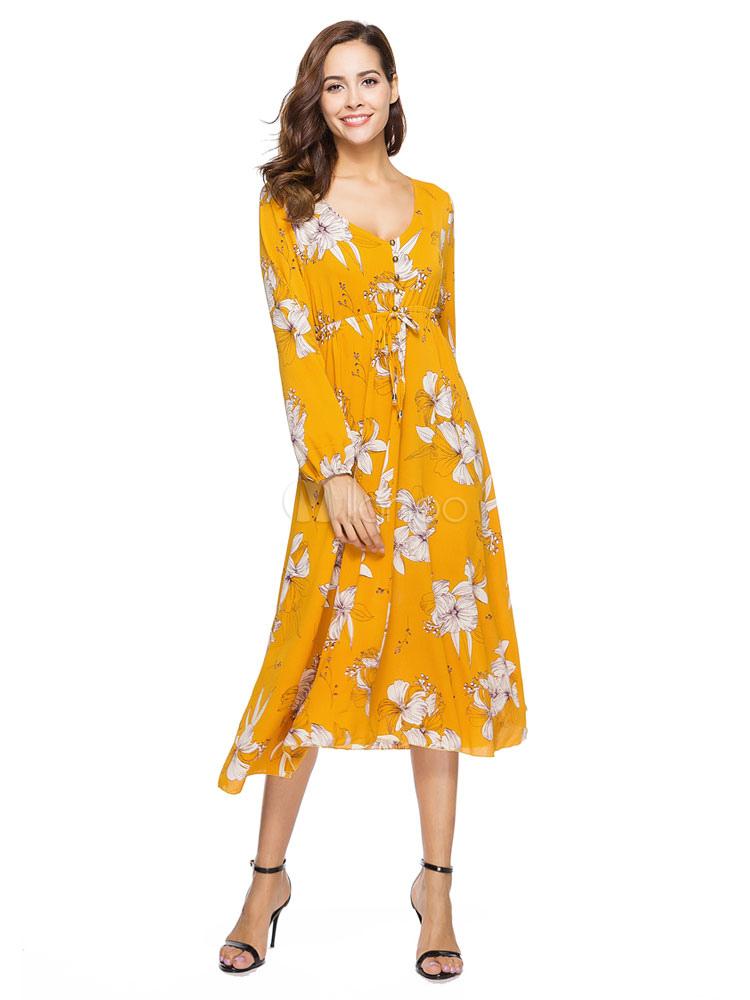Women Maxi Dress Floral Yellow Boho V Neck Long Sleeve Chiffon Dresses