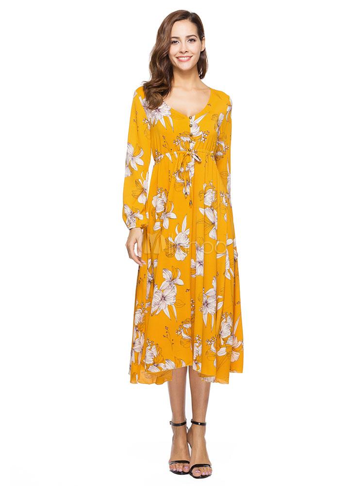 7e933f196833 ... Abito lungo giallo in chiffon con scollo a V maniche lunghe stampa  floreale donna -No ...