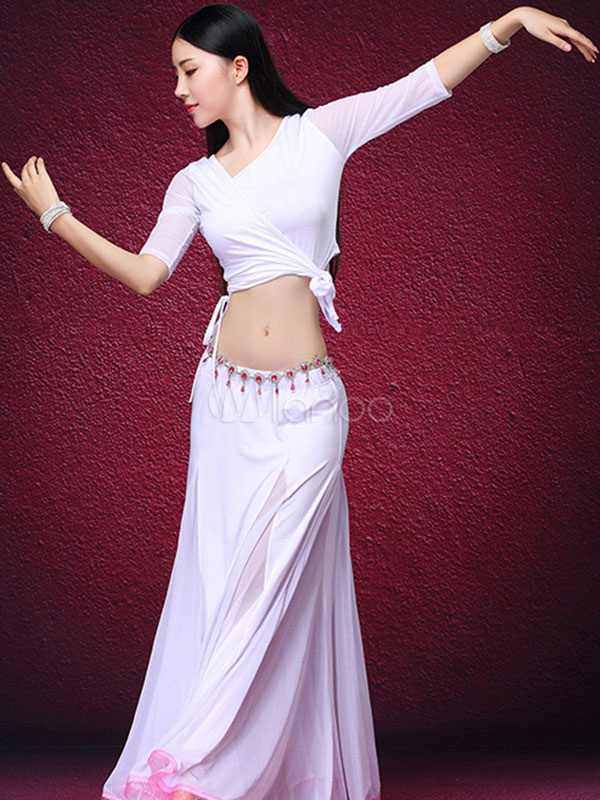 Belly Dance Costume White Tulle Long Skirt With Top And Vest For Women