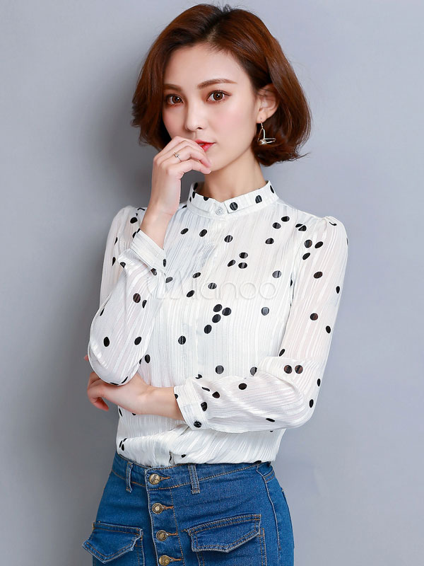 7e18928e412 White Blouse Long Sleeve Stand Collar Polka Dot Print Chiffon Top For  Women-No.