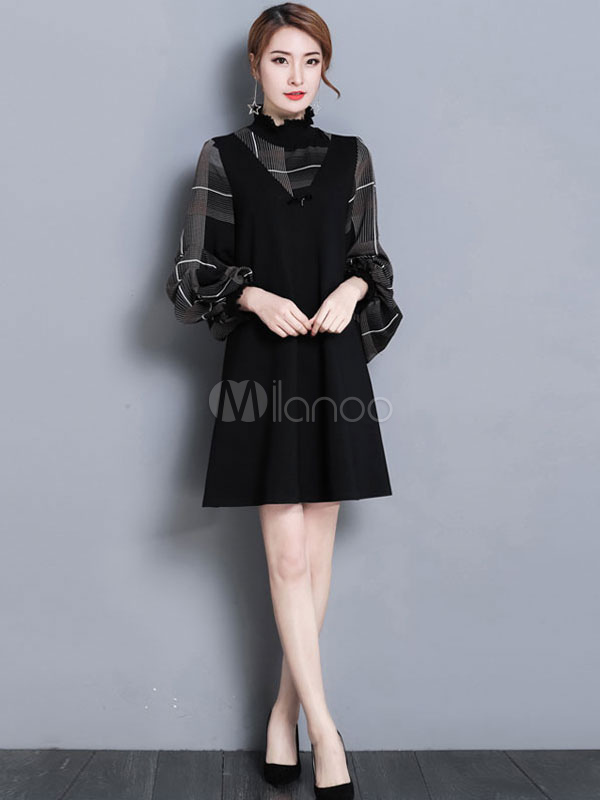Buy Black Shift Dress Fake Two Piece Dress Women High Collar Long Sleeve A Line Dress for $35.99 in Milanoo store
