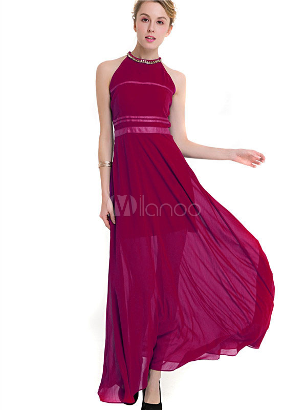 Buy Women Maxi Dress Burgundy Round Neck Sleeveless Slim Fit Long Dress Chiffon Formal Dress for $30.39 in Milanoo store