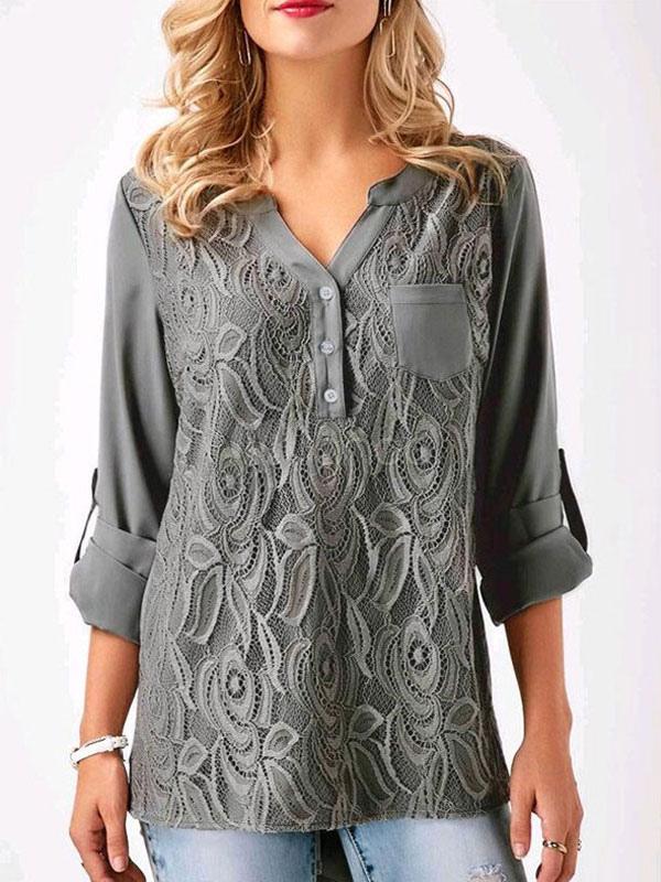 Long Sleeve Women Top Lace V Neck Button Grey Women Blouse