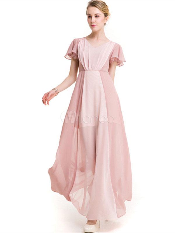 robe longue en chiffon bicolore col v manches papillon. Black Bedroom Furniture Sets. Home Design Ideas