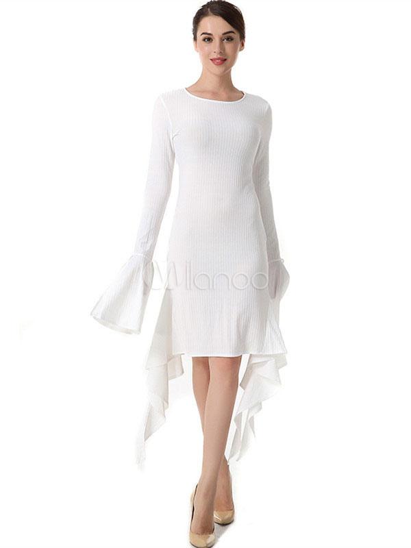 Buy White Bodycon Dress Bell Sleeve Round Neck Ruffles Split Midi Dresses For Women for $19.19 in Milanoo store