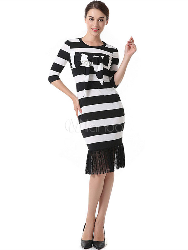 Buy Black Bodycon Dress Women Sheath Dress Round Neck Half Sleeve Knotted Striped Dress for $19.99 in Milanoo store