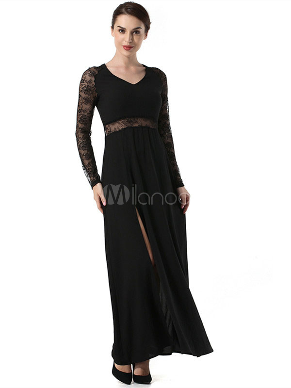 0ce36152018 ... Black Maxi Dress Lace Long Sleeve Split V Neck Illusion Sexy Dress For  Women-No ...